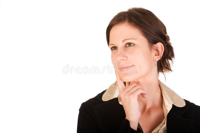 Mulher de negócio atrativa no pensamento imagens de stock