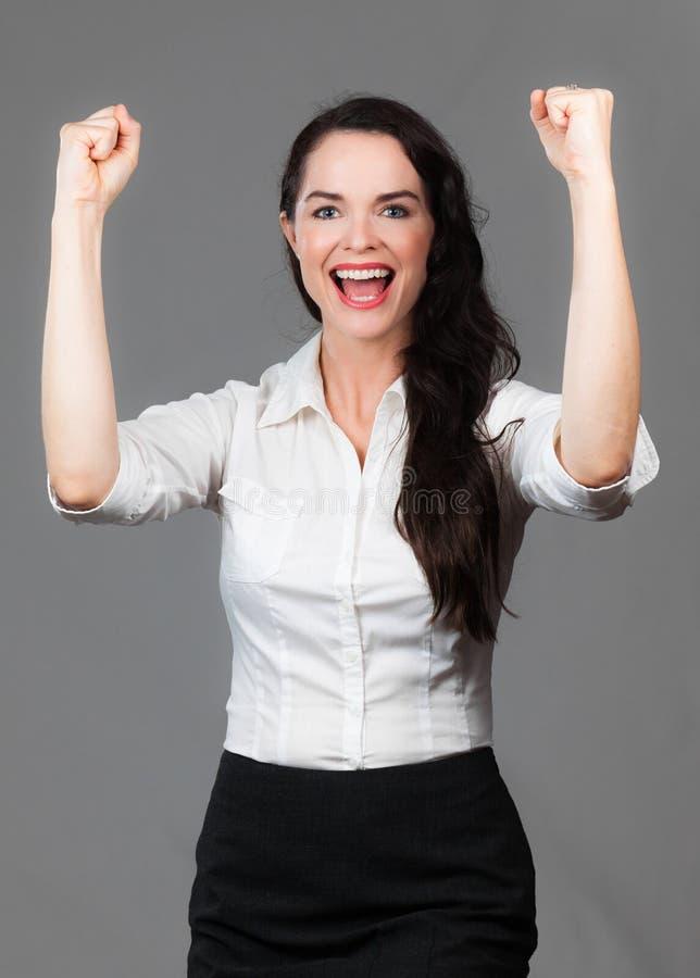Mulher de negócio bem sucedida feliz imagens de stock royalty free