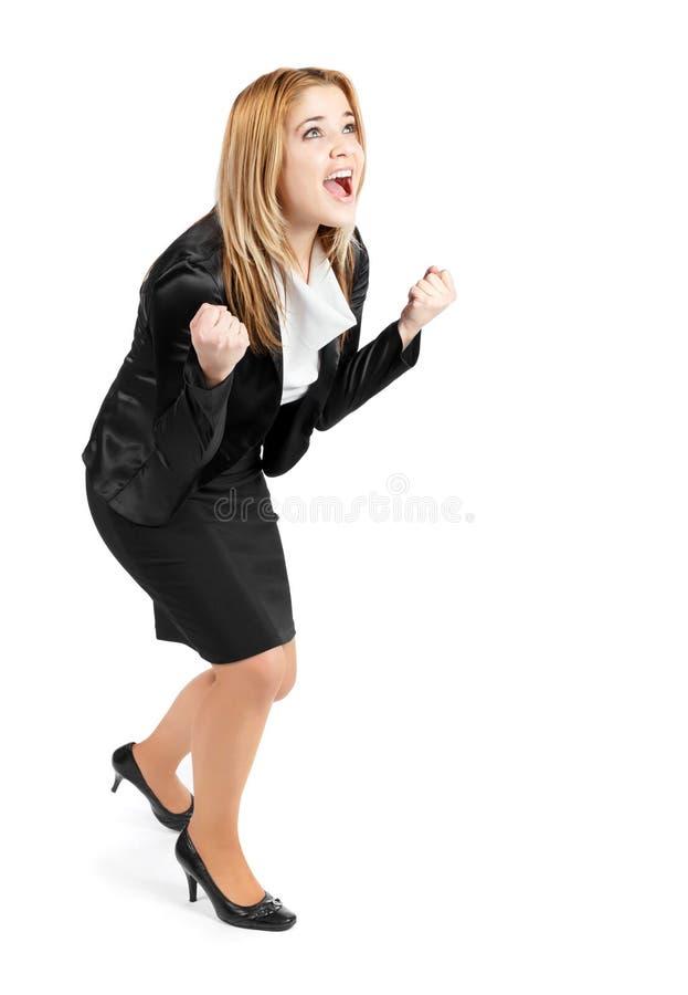 Mulher de negócio bem sucedida que expressa a felicidade foto de stock royalty free