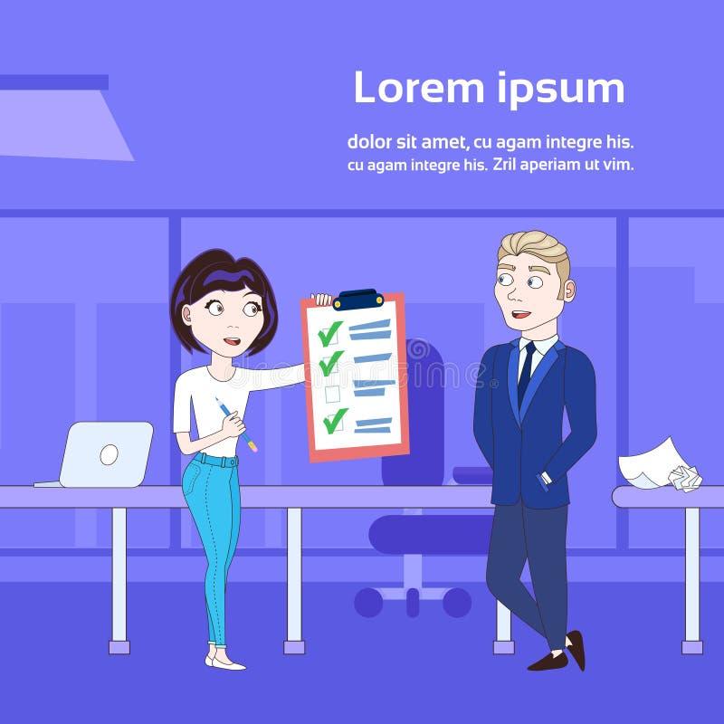 Mulher de negócio bem sucedida que mostra o fundo do escritório de Done Checklist Over do chefe do homem de negócios ilustração do vetor