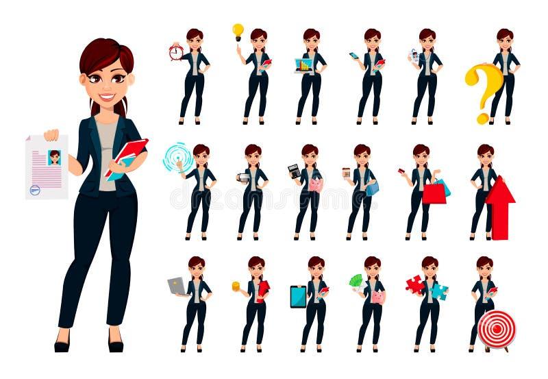 Mulher de negócio bonita nova, grupo de dezenove poses ilustração stock