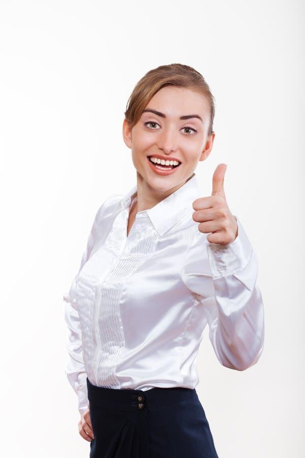 Mulher de negócio bonito que sorri para sua propaganda imagens de stock royalty free