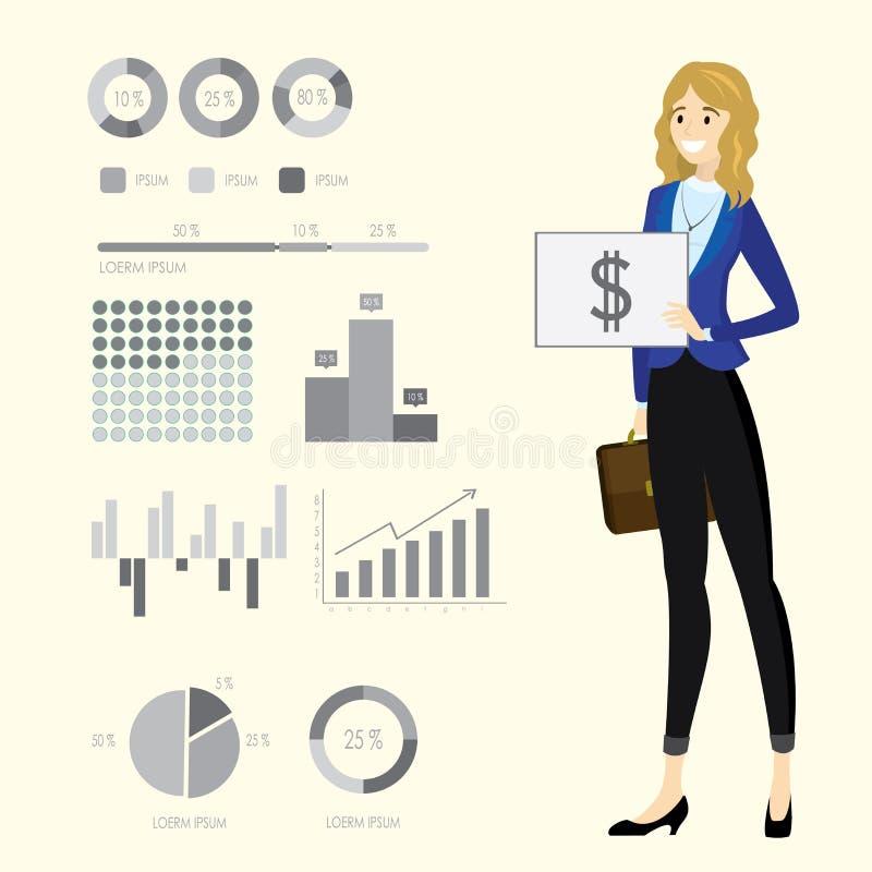 Mulher de negócio caucasiano da beleza e gráficos de negócio, infographic ilustração royalty free