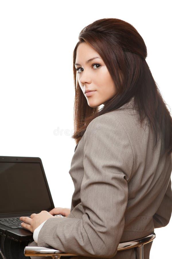 Mulher de negócio com caderno fotos de stock