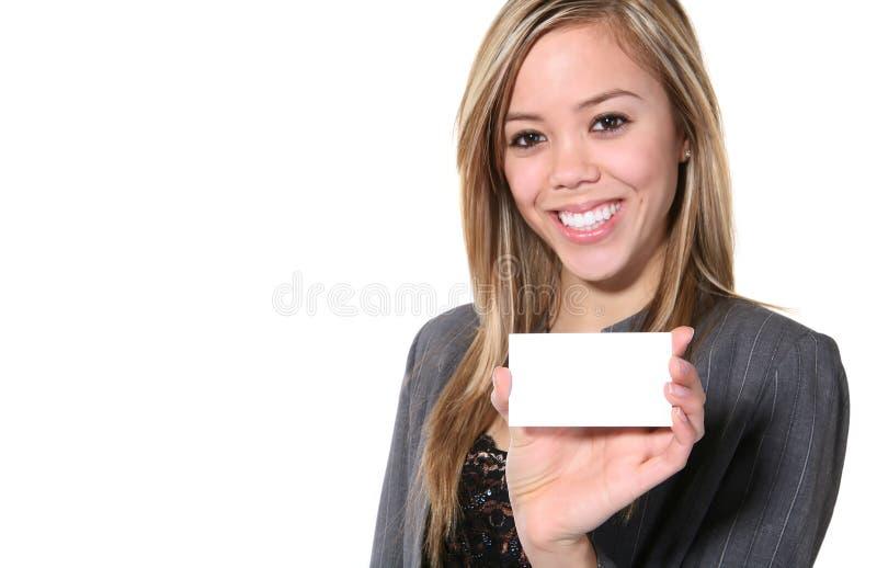 Mulher de negócio com cartão imagem de stock royalty free