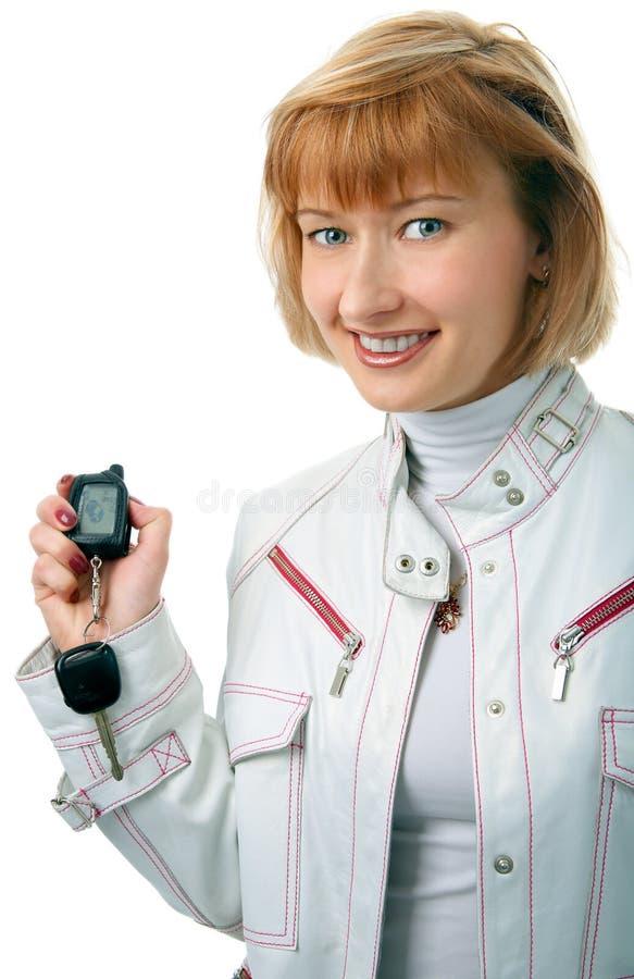 Mulher de negócio com chaves foto de stock