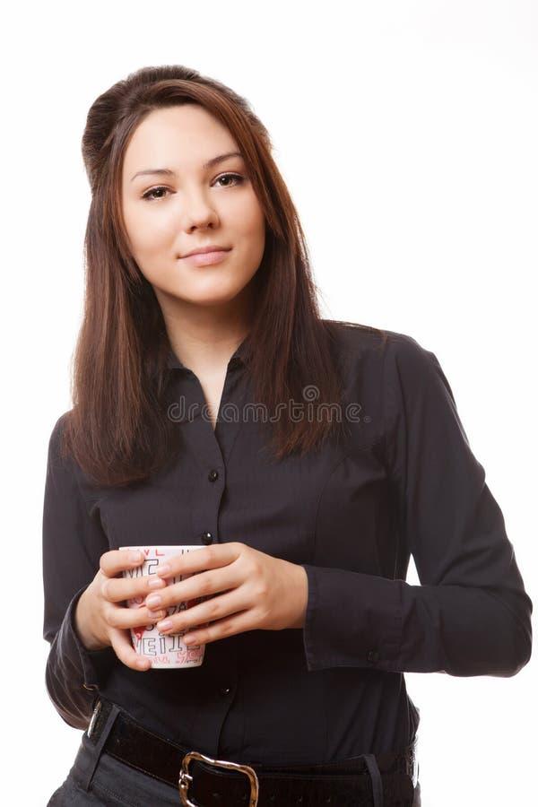 Mulher de negócio com coffe do copo fotografia de stock