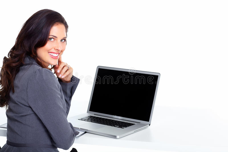 Mulher de negócio com computador portátil fotos de stock