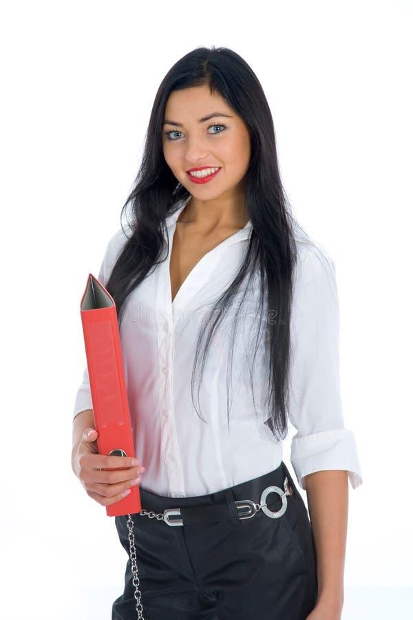 Mulher de negócio com dobrador foto de stock royalty free