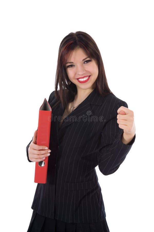 Mulher de negócio com dobrador imagem de stock royalty free
