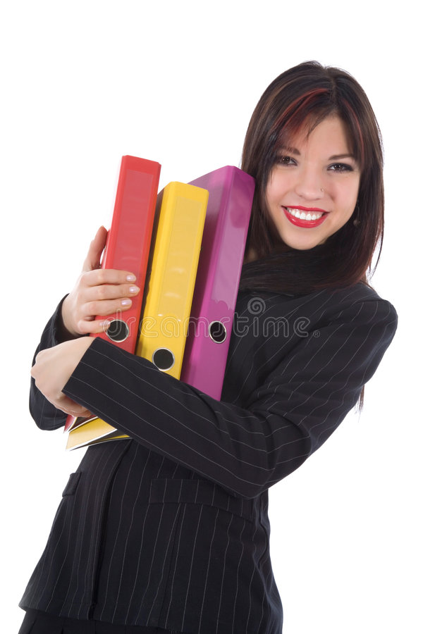 Mulher de negócio com dobrador foto de stock