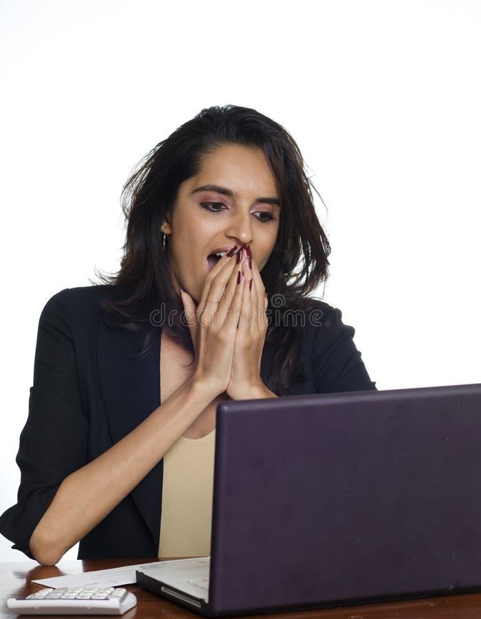 Mulher de negócio com expressão selvagem imagens de stock royalty free