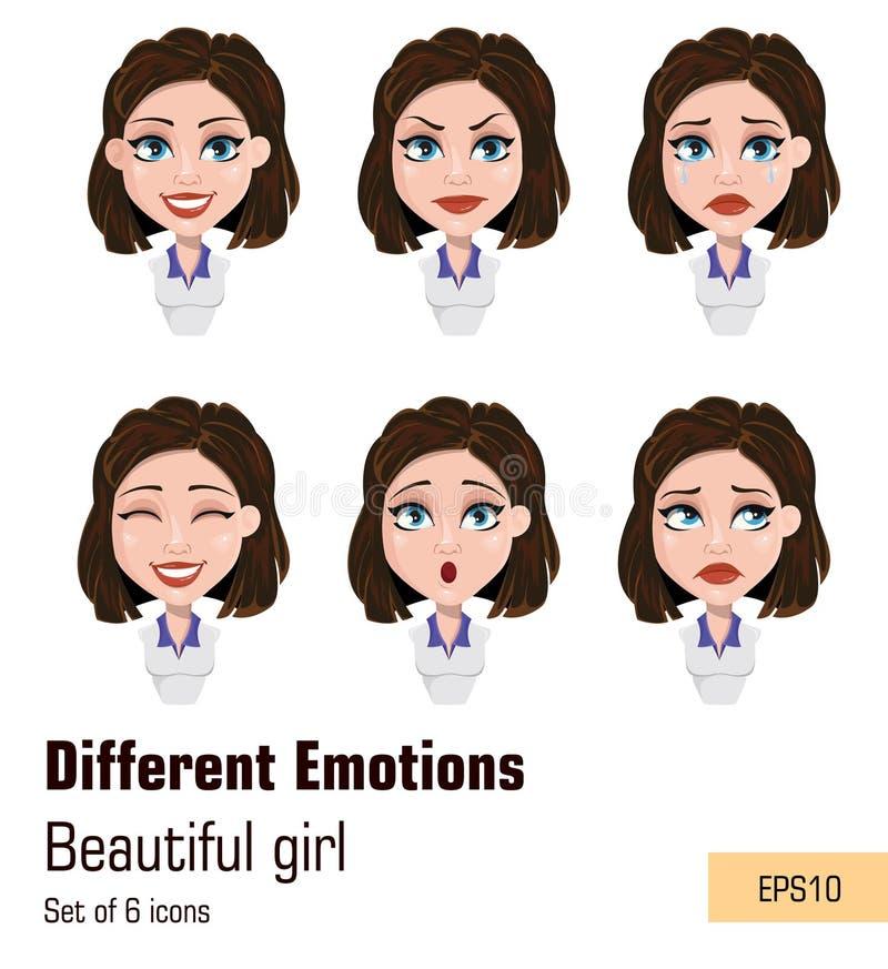 Mulher de negócio com expressões diferentes da cara Atrativo novo ilustração do vetor