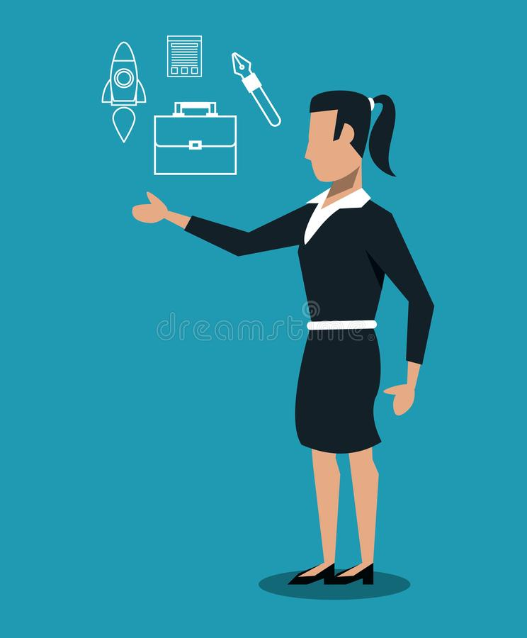 Mulher de negócio com ferramentas ilustração royalty free