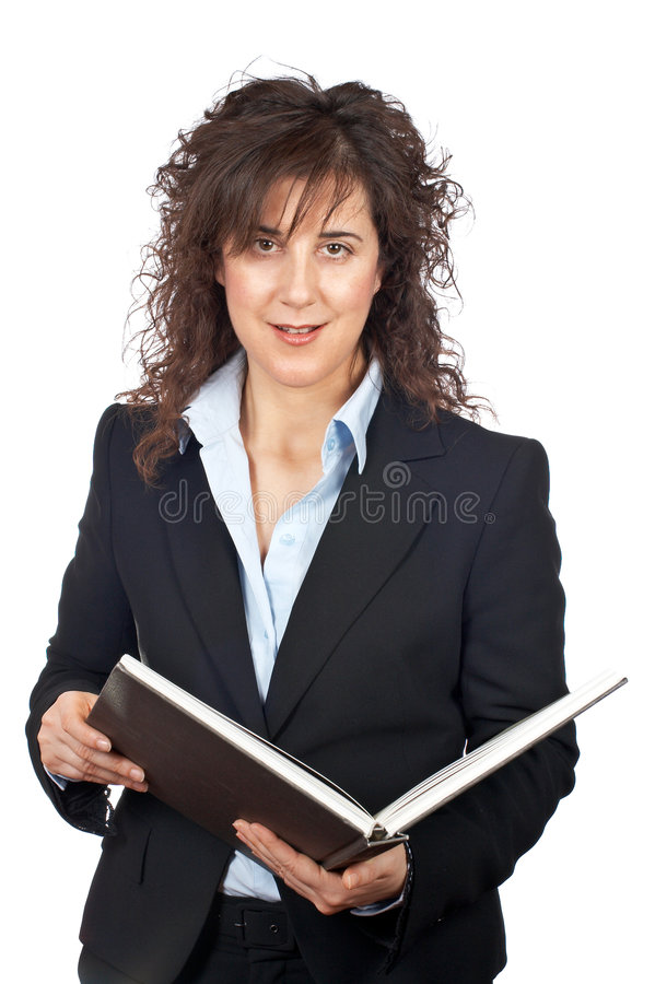 Mulher de negócio com livro imagens de stock royalty free