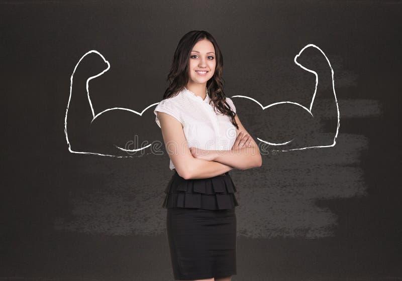 Mulher de negócio com mãos poderosas tiradas fotografia de stock royalty free