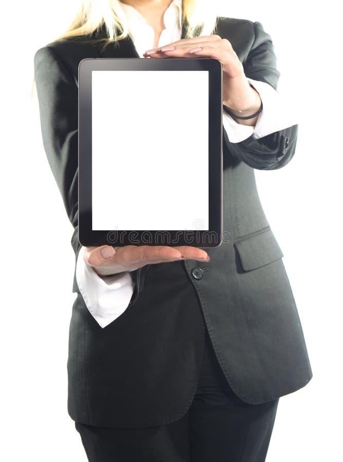 Mulher de negócio com o portátil isolado no fundo branco foto de stock
