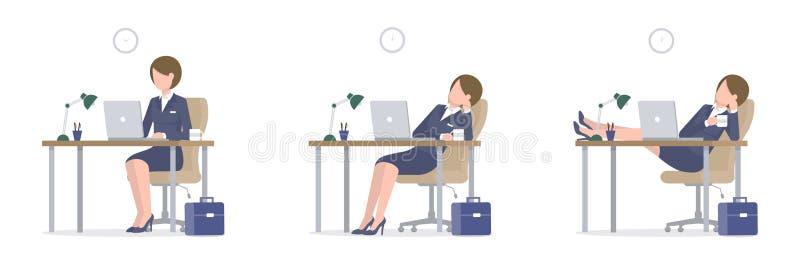 Mulher de negócio com o portátil nos pés da mesa na tabela ilustração stock