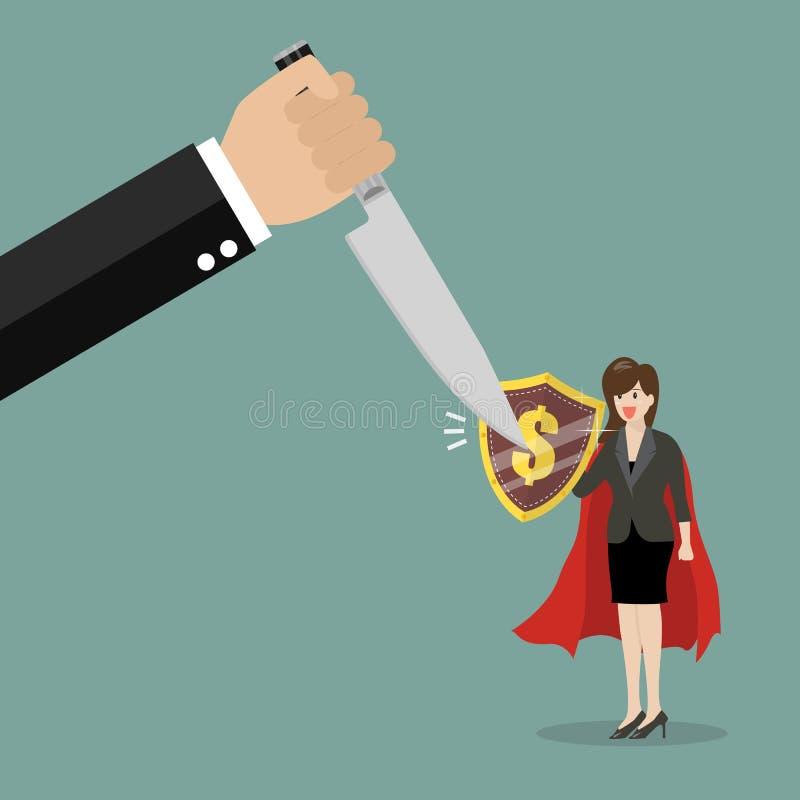 Mulher de negócio com o protetor que protege do gráfico para baixo ilustração royalty free