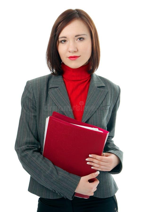 Mulher de negócio com originais do dobrador fotografia de stock royalty free