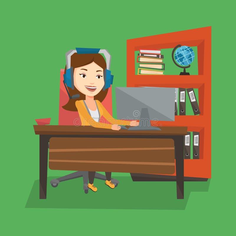Mulher de negócio com os auriculares que trabalham no escritório ilustração royalty free