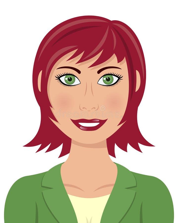 Mulher de negócio com os olhos verdes do cabelo vermelho ilustração stock