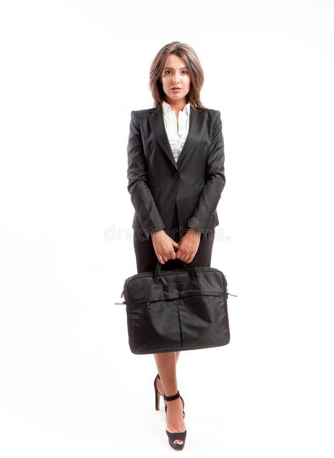 Mulher de negócio com pasta fotografia de stock