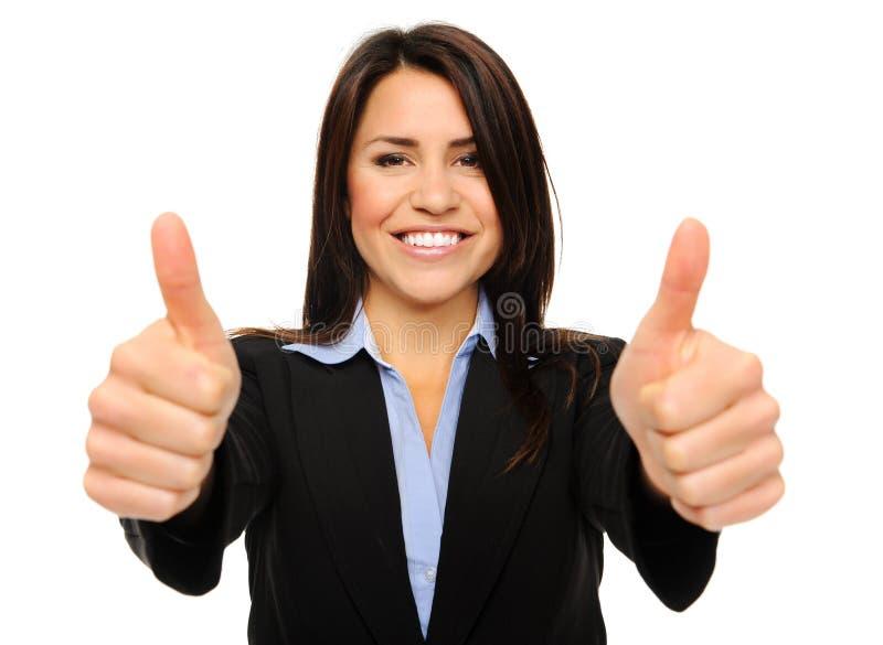 Mulher de negócio com polegares acima fotos de stock royalty free