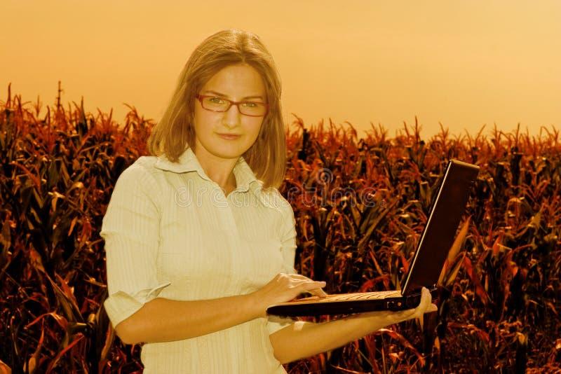 Mulher de negócio com portátil fotografia de stock