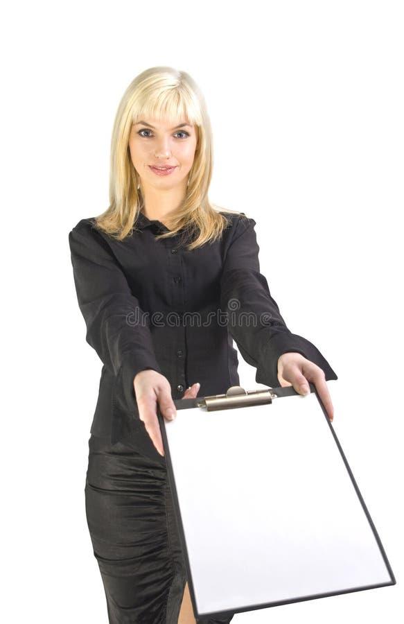 Mulher de negócio com prancheta imagens de stock royalty free