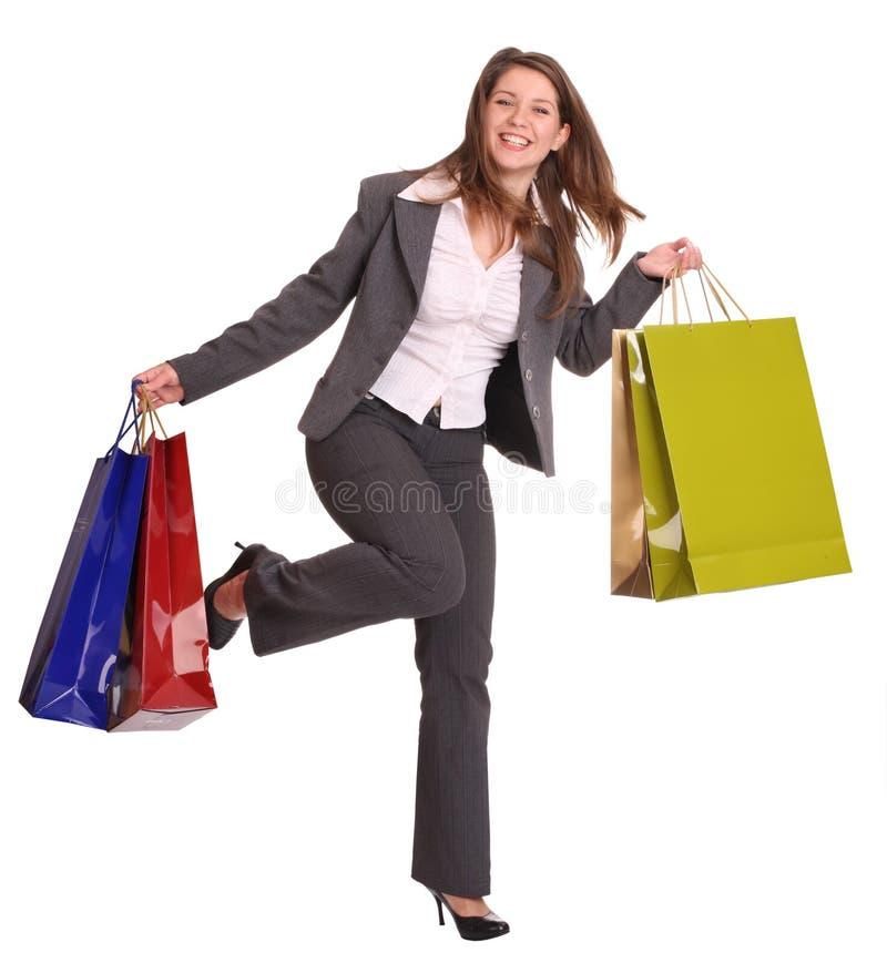 Mulher de negócio com saco do presente. foto de stock