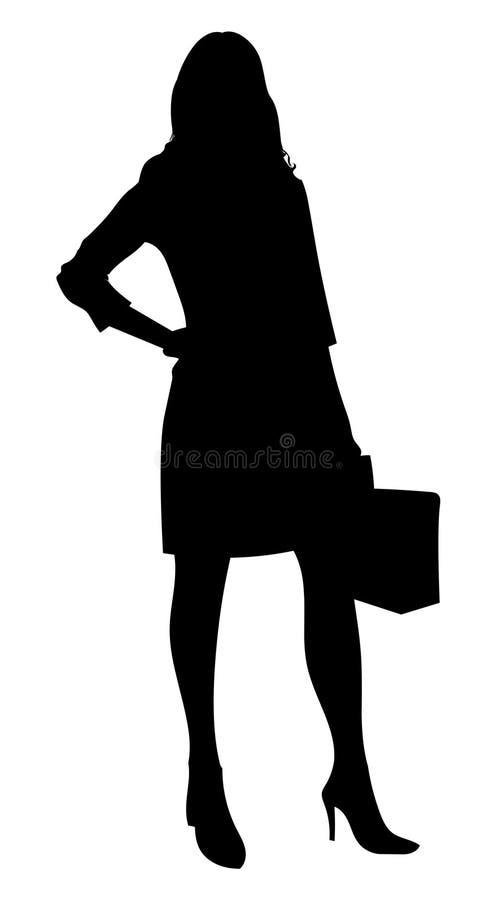 Mulher de neg?cio com silhueta da pasta Executivo de mulher ilustração do vetor