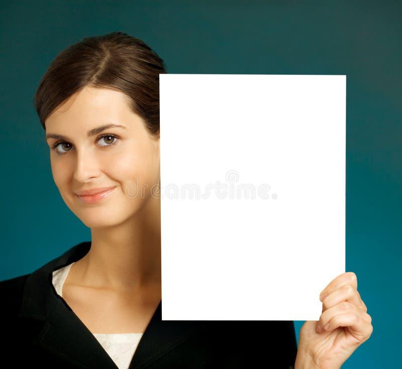 Mulher de negócio com sinal imagem de stock