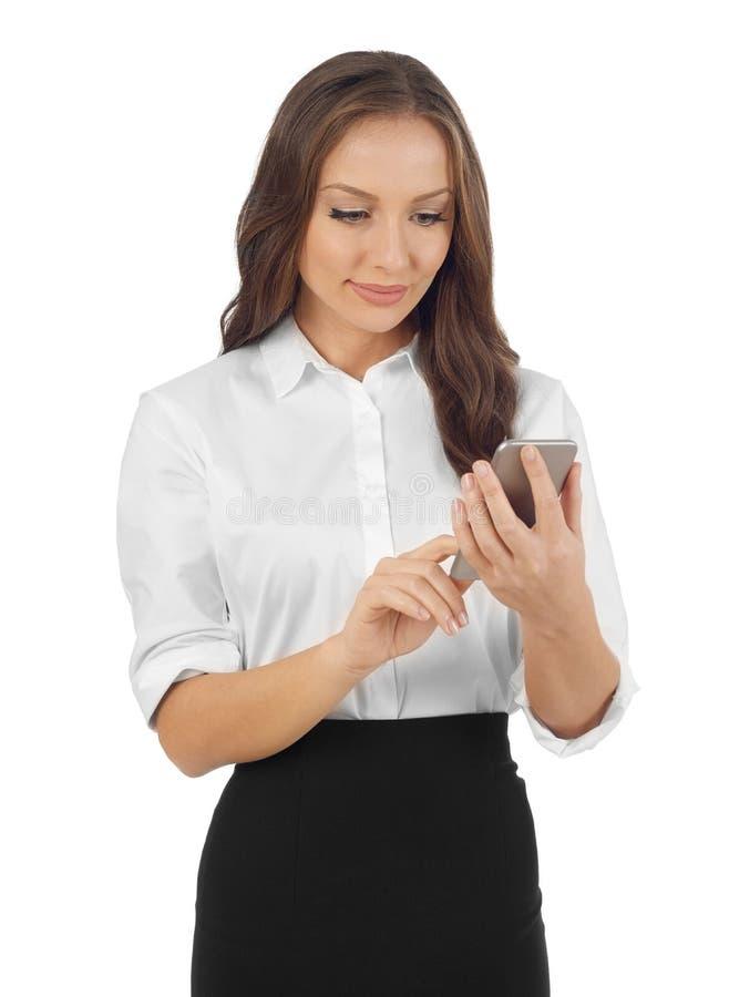 Mulher de negócio com telefone móvel fotografia de stock
