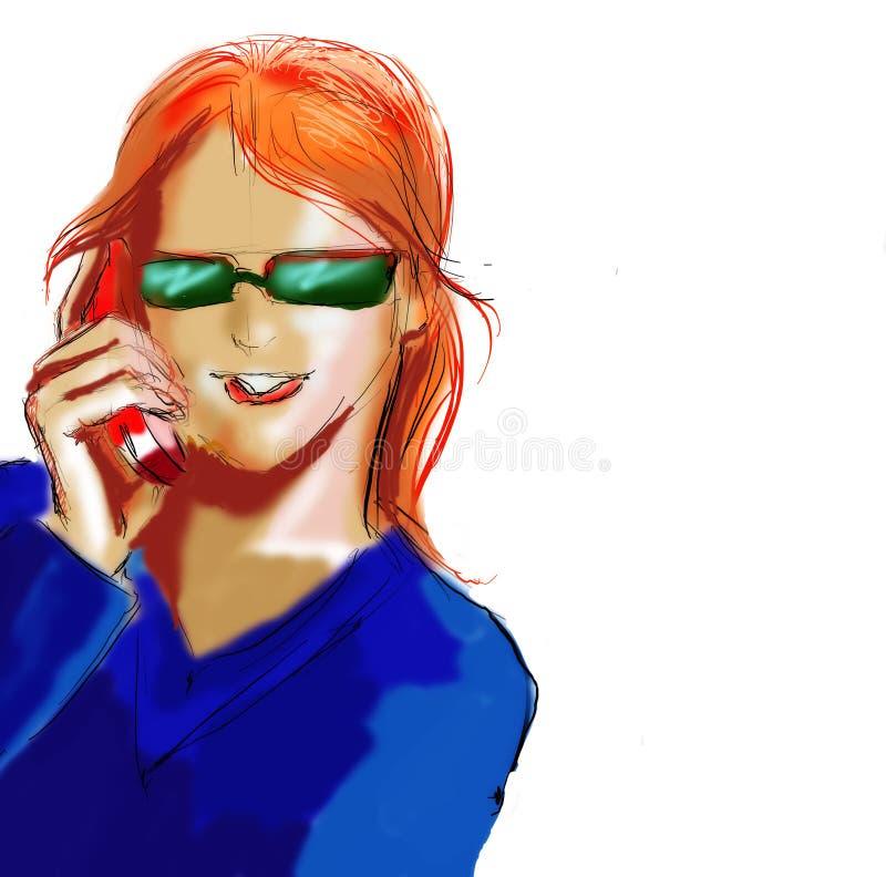 Mulher de negócio com telemóvel ilustração do vetor