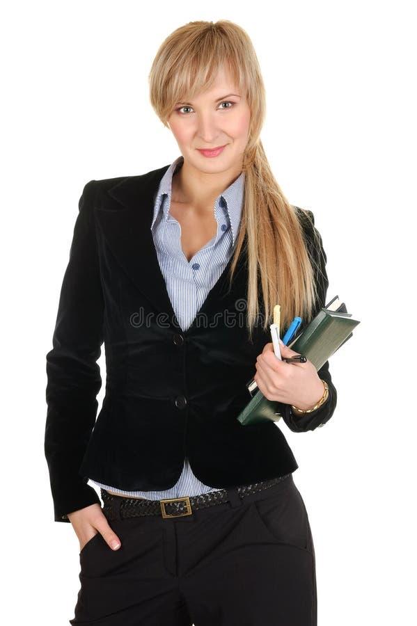 Mulher de negócio com um bloco de notas. imagem de stock
