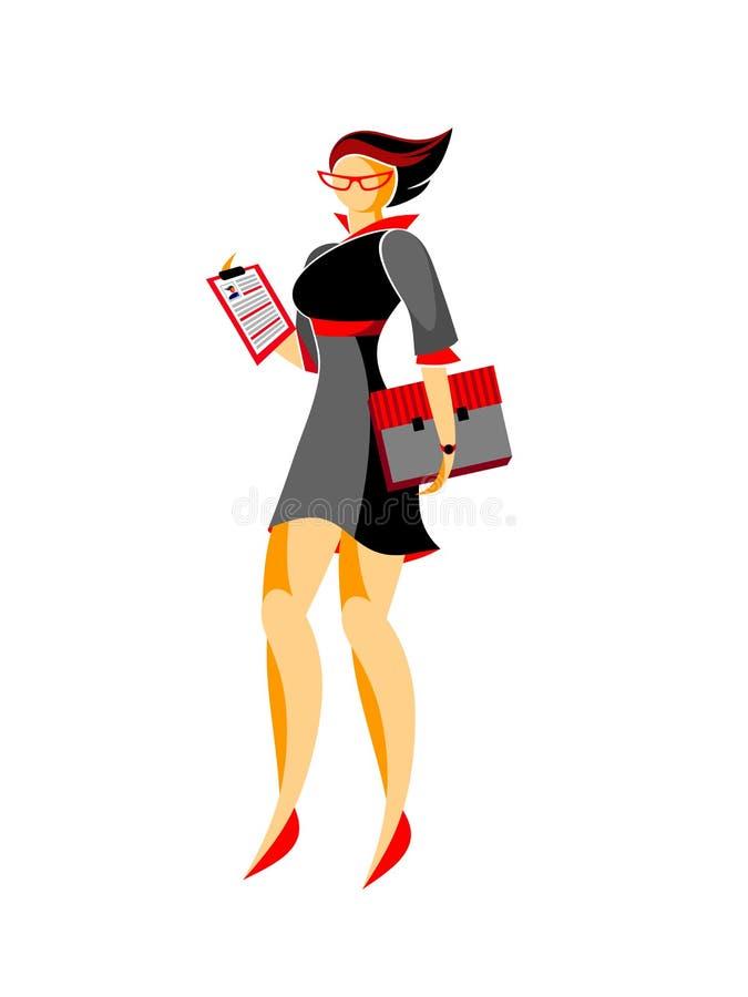 Mulher de negócio com um dobrador e um resumo ilustração stock