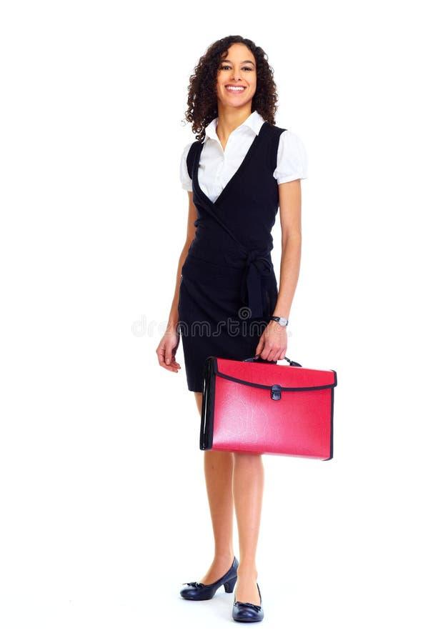 Mulher de negócio com uma mala de viagem fotografia de stock royalty free