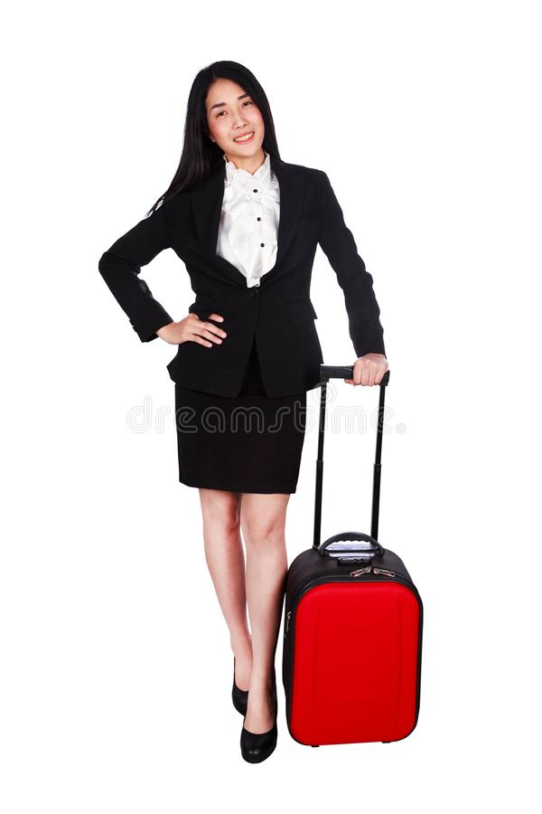Mulher de negócio com uma mala de viagem isolada no fundo branco fotos de stock