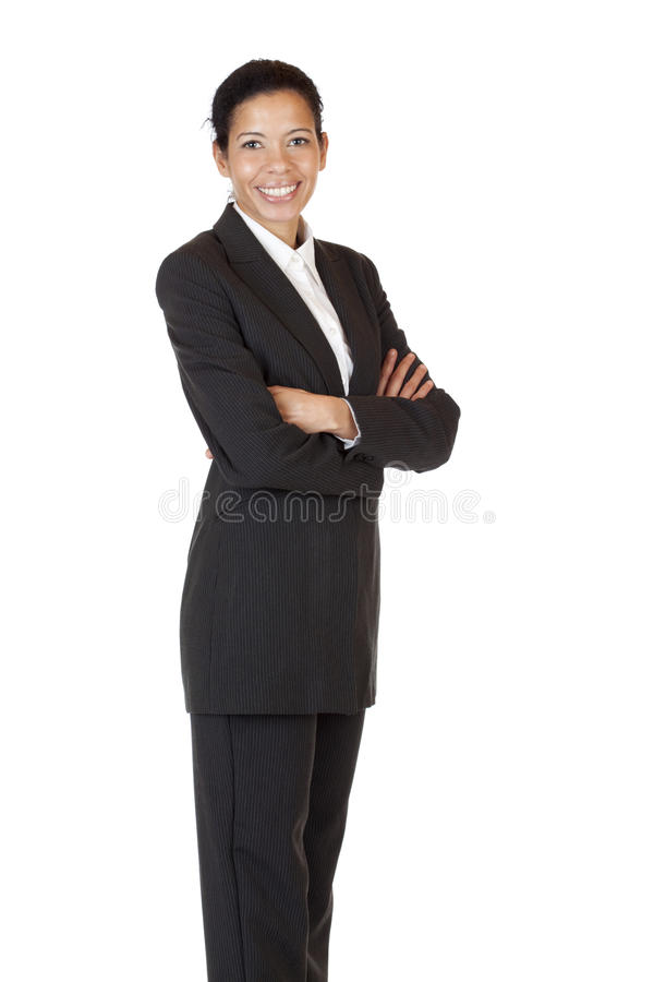 A mulher de negócio confiável do auto sorri feliz imagens de stock
