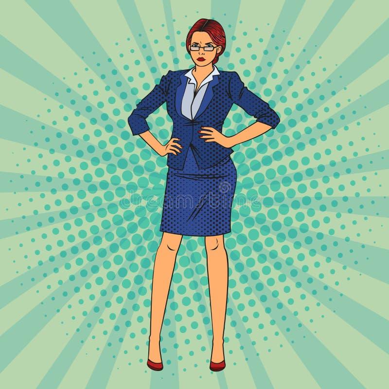 Mulher de negócio confiável Pop art Vetor ilustração royalty free