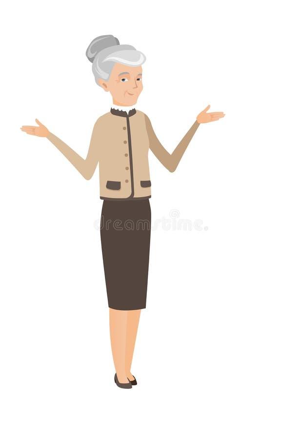 Mulher de negócio confusa caucasiano com braços espalhados ilustração stock