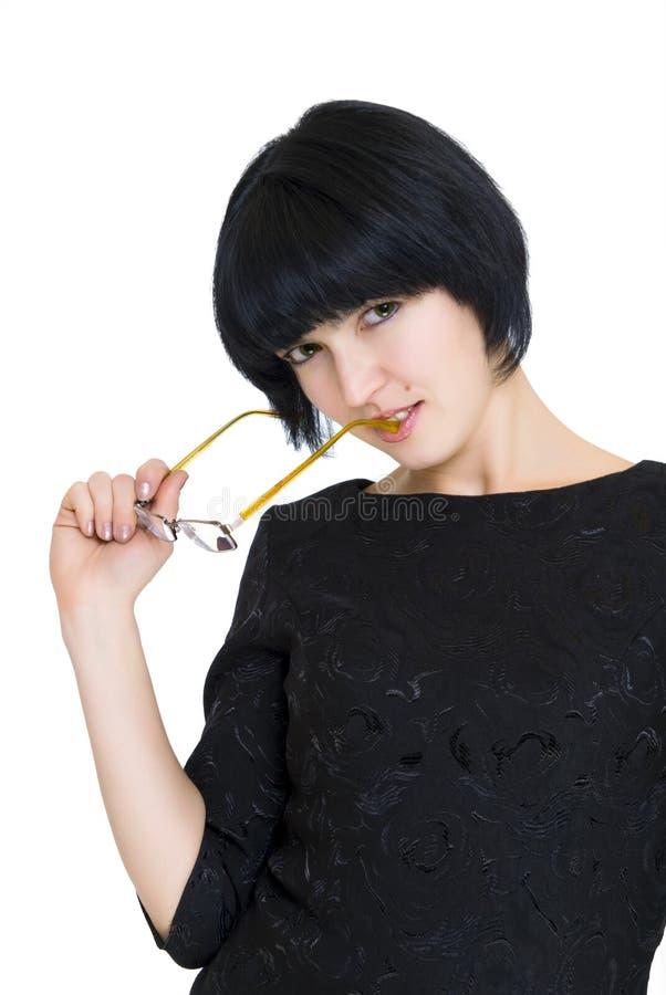 Mulher de negócio Crafty com vidros fotos de stock royalty free