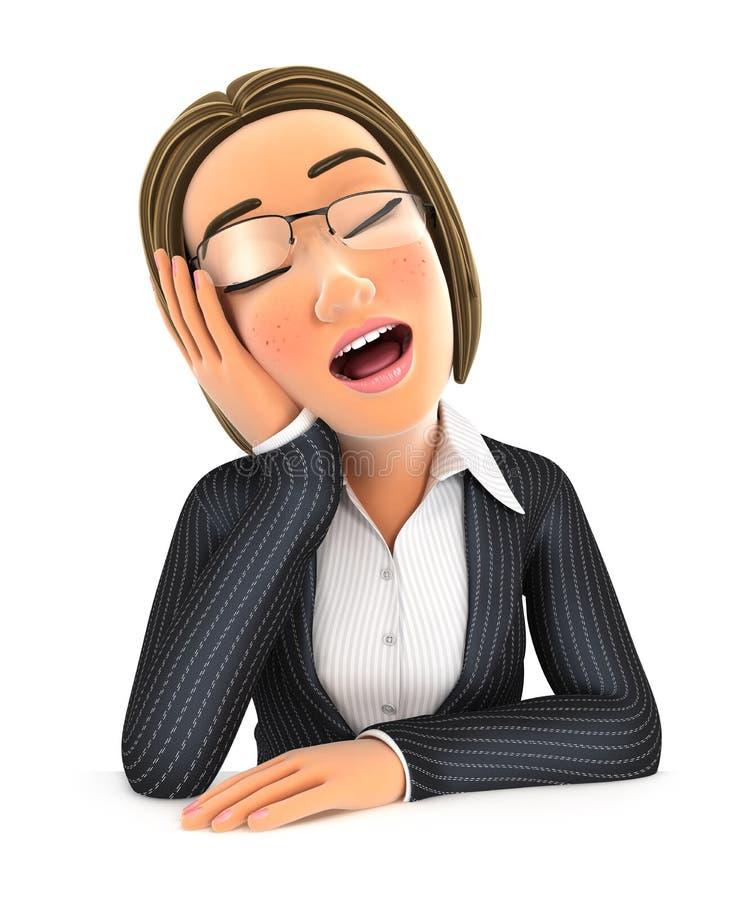 a mulher de negócio 3d caiu inclinação adormecida em sua mão ilustração do vetor