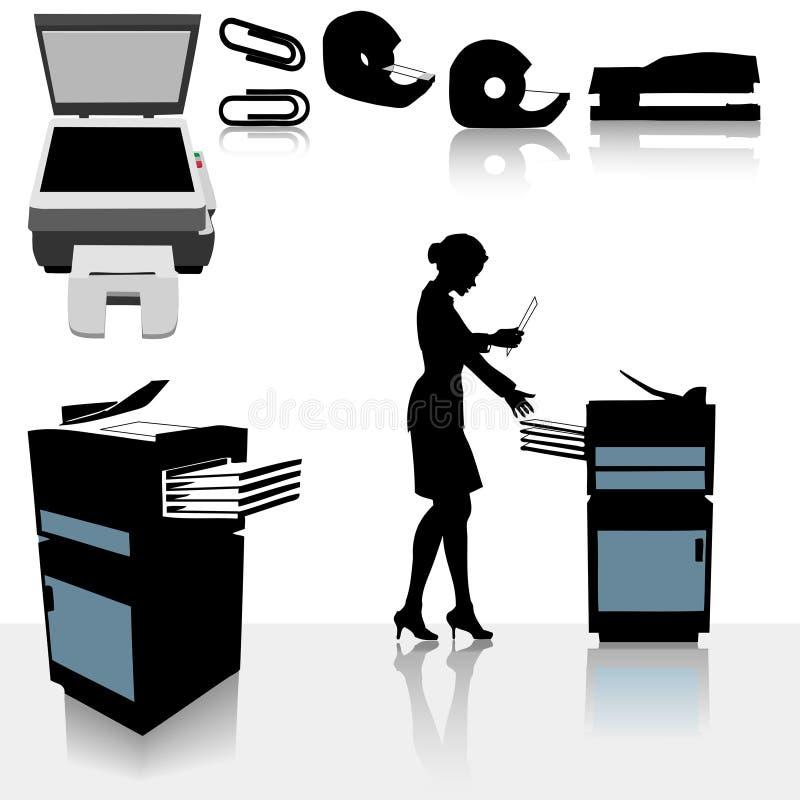 Mulher de negócio das copiadoras de escritório ilustração do vetor