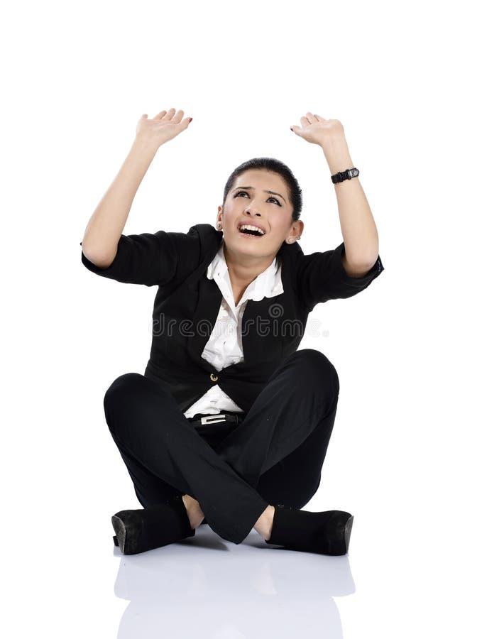 A mulher de negócio de choque está apontando imagem de stock royalty free