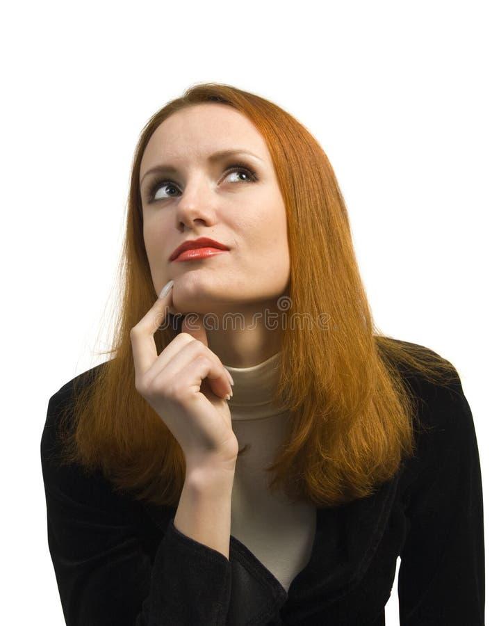 Mulher de negócio de dúvida pensativa fotos de stock