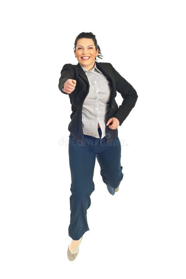 Mulher de negócio de salto com atitude imagens de stock royalty free