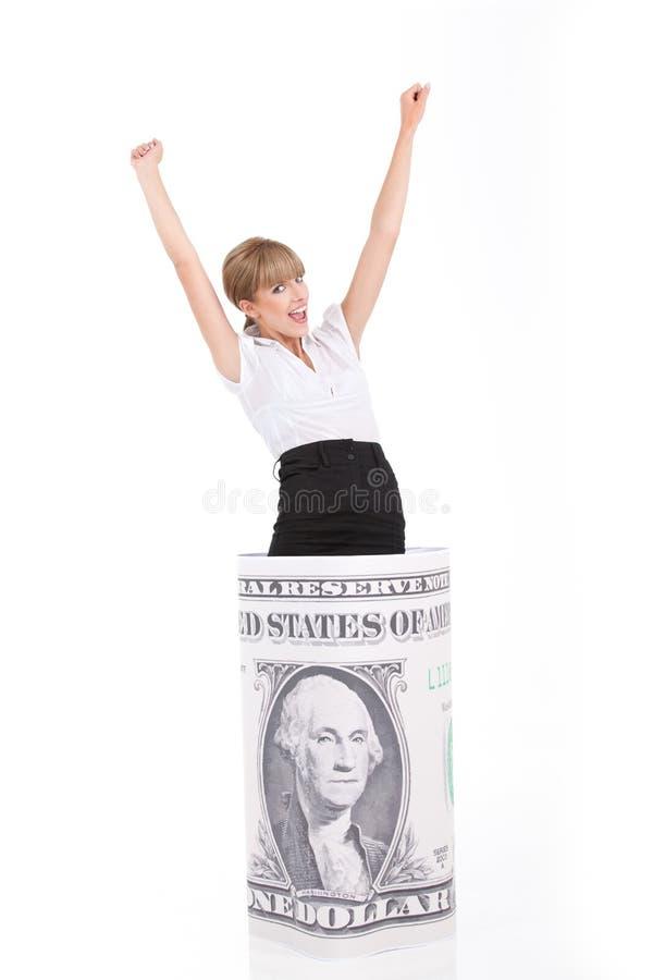 A mulher de negócio descobre a potência da moeda de um centavo fotografia de stock royalty free