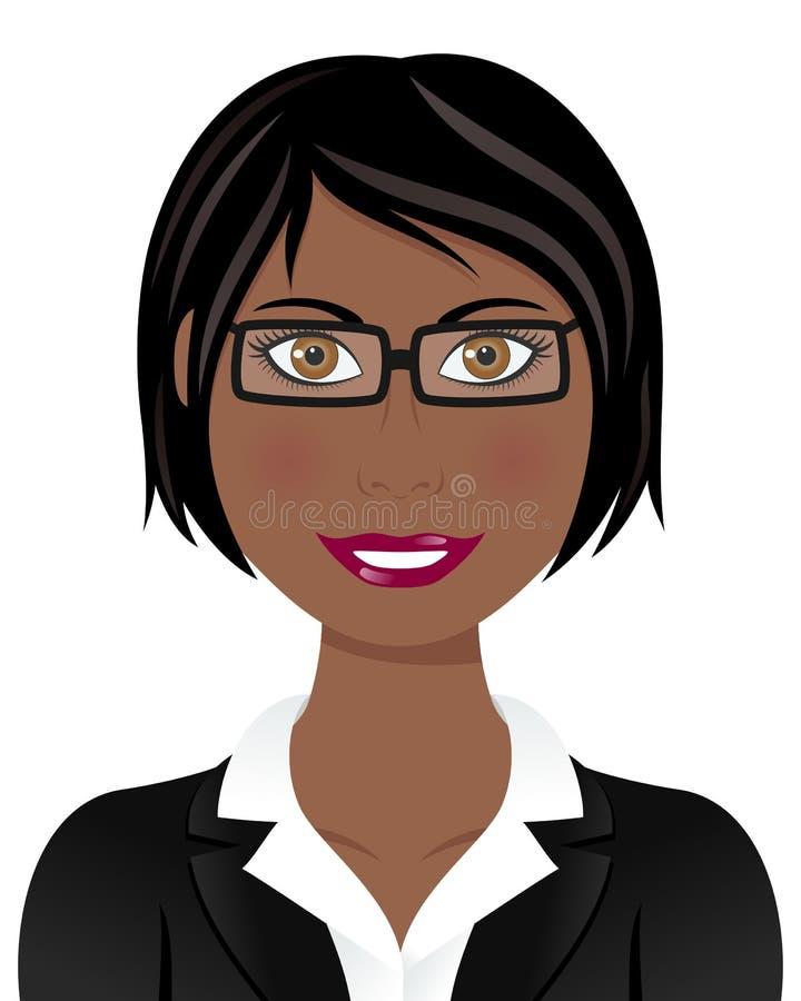 Mulher de negócio do Afro com cabelo preto ilustração stock